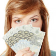 Teen woman with euro money — Stock Photo #4832794
