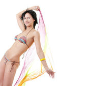 Young woman in colorfull bikini — Stock Photo