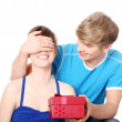 Boy give a gift to his girlfriend. — Stock Photo #4855934