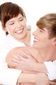Young couple at bathroom — Stock Photo