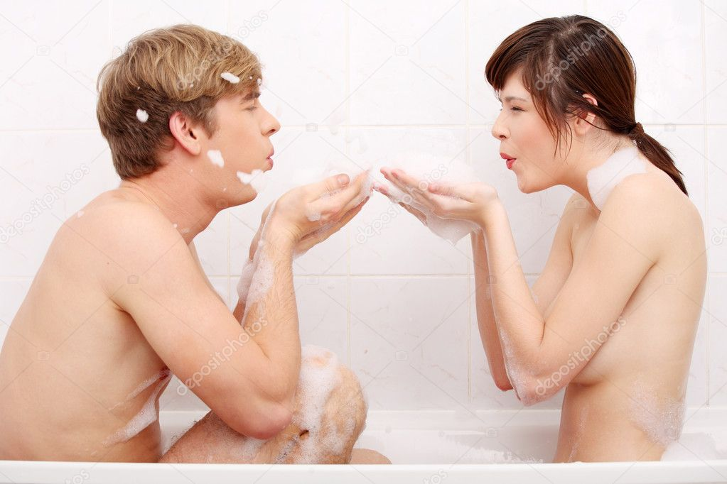 Young happy couple in bath. — Stock Photo #4855965
