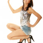 Beautiful sexy woman in silver dancing — Stock Photo #4865866