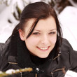 Beautiful woman outdoor in the snow — Stock Photo