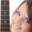 Young woman with black clasic guitar — Stock Photo #4867347
