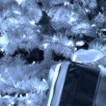 Christmas tree with present — Stock Photo
