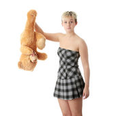 Punk teen girl with teddy — Stock Photo