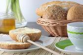 Fresh bread With Honey — Stock Photo