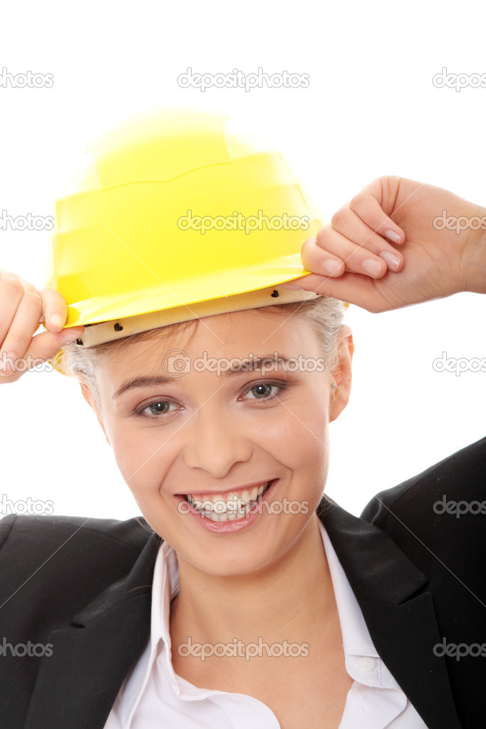 Portrait of confident female worker in helmet isolated on white background — Stock Photo #4864839