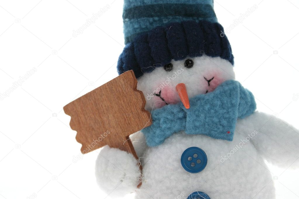 Snowman that keep blank sign to put your word or logo  Stock Photo #4867998