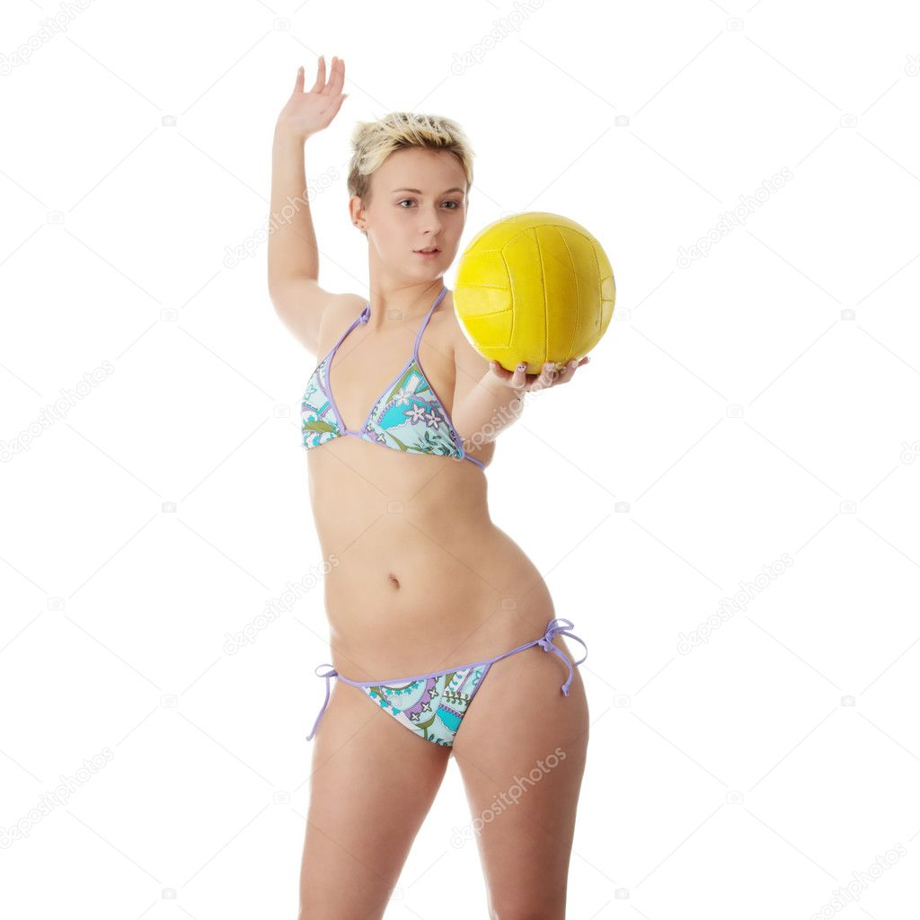 teen frau in bikini volleyball spielen stockfoto 4868783. Black Bedroom Furniture Sets. Home Design Ideas