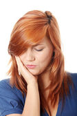 Young woman in pain is having toothache — Stock Photo