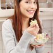 Woman eating salat — Stock Photo