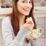 Woman eating salat — Stock Photo