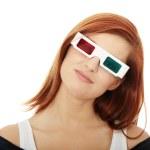 Woman in 3d cinema glasses — Stock Photo