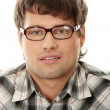Close up portrait of handsome man in glasses — Stock Photo
