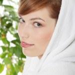 Woman wearing bathrobe — Stock Photo #4997732
