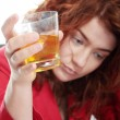 Young woman addicted to alcohol — Stock Photo
