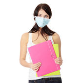 Student woman with mask on her face — Stock Photo