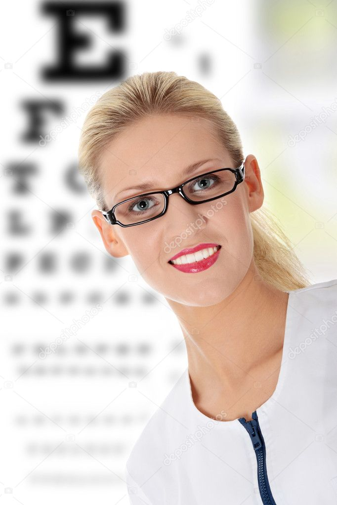 Female ophthalmologist, isolated on white — Stok fotoğraf #4998008