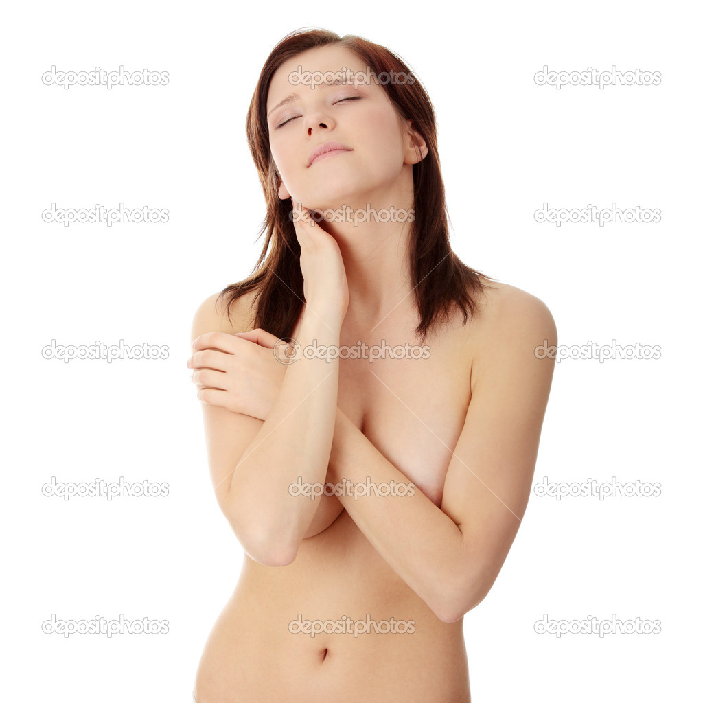 Attractive young naked caucasian woman with perfect skin, isolated on white — Stock Photo #4998338