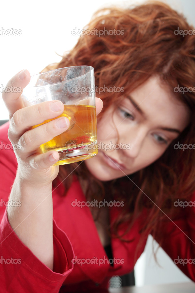Young woman addicted to alcohol, isolated on white — Stock Photo #4998407