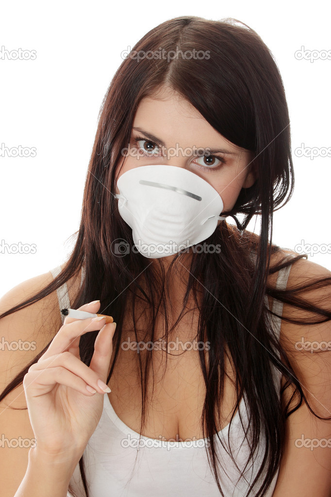 Young smoking woman with face mask, isolated  — Stock Photo #4999257