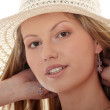 Wearing A Retro Summer Hat — Stock Photo #5002885