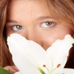 linda fêmea agradável com a pele saúde — Foto Stock