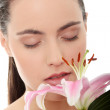Spa woman with flower — Stock Photo