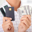 Credit card and cash - Stock Photo