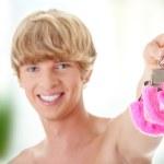 Pink handcuff — Stock Photo