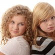 Two beautiful blond teen girlfriends — Stock Photo