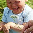 Crying baby boy outdoors — Stock Photo