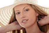 Het dragen van een hoed retro zomer — Stockfoto