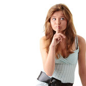 Young woman gesturing silence — Stock Photo