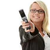 Attractive young business women with cellular phone — Stock Photo