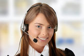 Beautiful Call Center Woman — Stock Photo