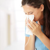 Teen woman with allergy or cold — Foto de Stock