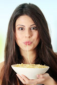 Eating spaghetti — Stock Photo