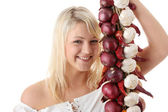 Blonde with vegetables — Stock Photo