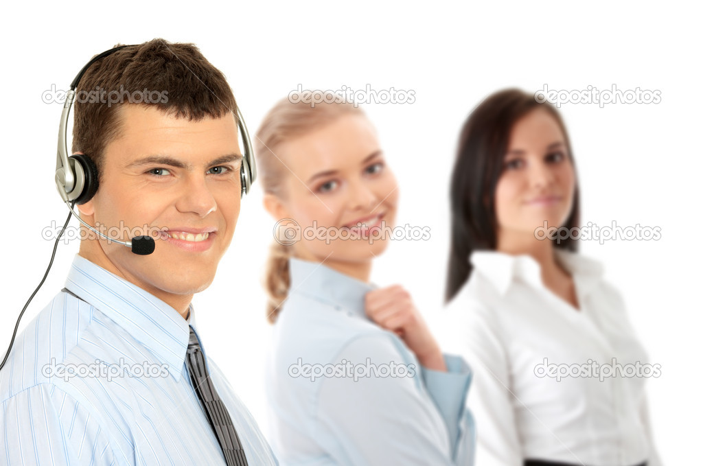 Charming customer service representative with headset on isolated on white background  — Stock Photo #5007070