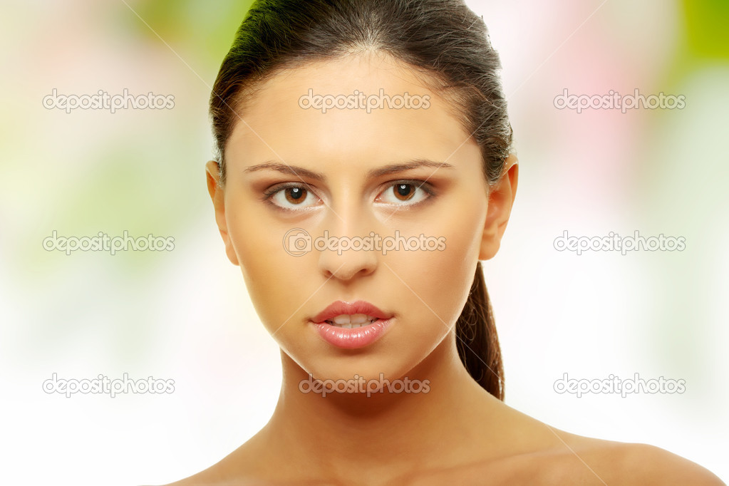 Beautiful woman's face with fresh clean skin  Stock Photo #5008306