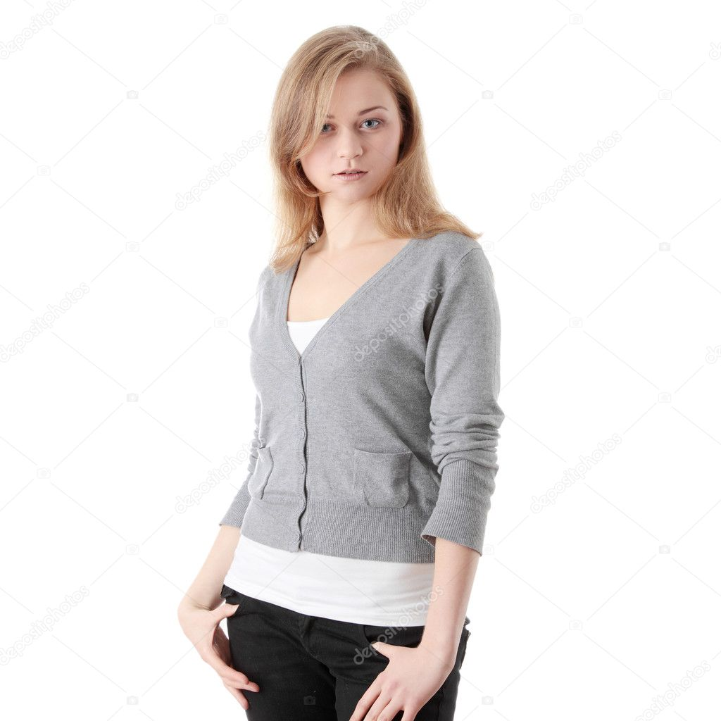 Young student woman. Over white background — Stock Photo #5009669