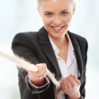 Businesswoman with rope — Stock Photo #5064339