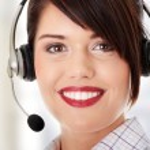 Call center woman — Stock Photo