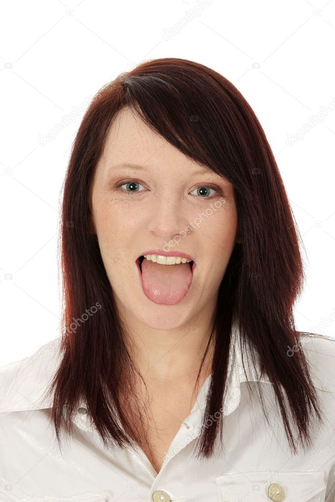 Young cheerful girl showing tongue   Stock Photo #5103443