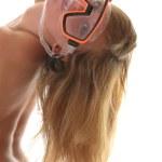 chica rubia en topless con máscara de buceo — Foto de Stock