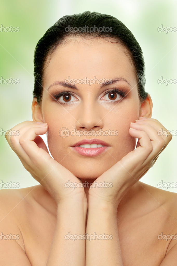 Attractive young caucasian woman face with perfect skin befour spa. — Stock Photo #5232025
