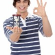 Young man with hourglass. — Stock Photo