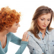 Troubled young girl comforted by her friend — Stock Photo